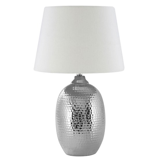 Jany Ivory Fabric Shade Table Lamp With Chrome Base