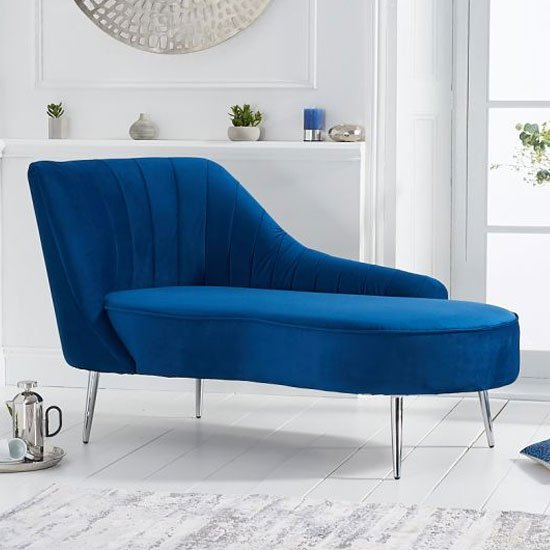 Jara Velvet Left Facing Arm Lounge Chaise In Blue