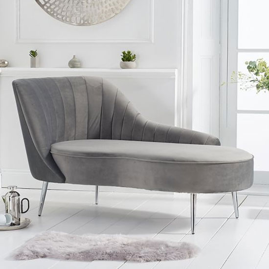 Jara Velvet Left Facing Arm Lounge Chaise In Grey_1