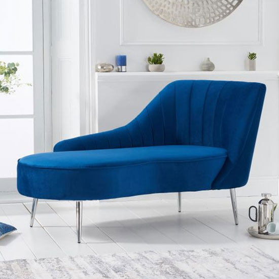 Jara Velvet Right Facing Arm Lounge Chaise In Blue