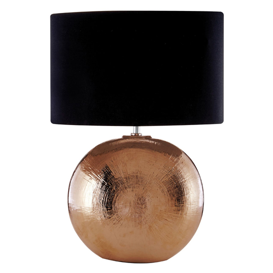 Jarvic Black Fabric Shade Table Lamp With Copper Base