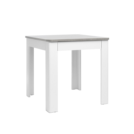 Jasmine Dining Table In Concrete Top With White Base And Drawer