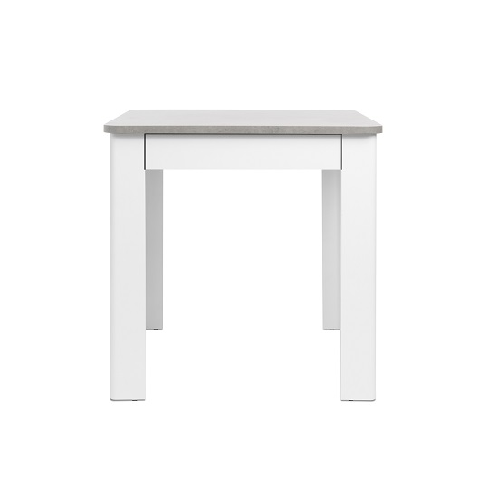 Jasmine Dining Table In Concrete Top With White Base And Drawer_3