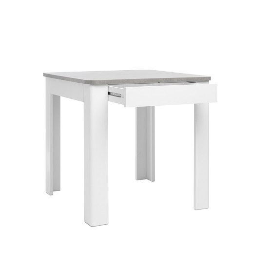 Jasmine Dining Table In Concrete Top With White Base And Drawer_2