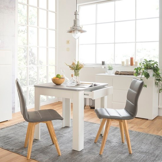 Jasmine Dining Table In Concrete Top With White Base And Drawer 4