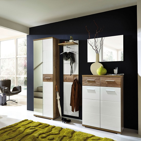 Read more about Jason hallway furniture set in white gloss and oak