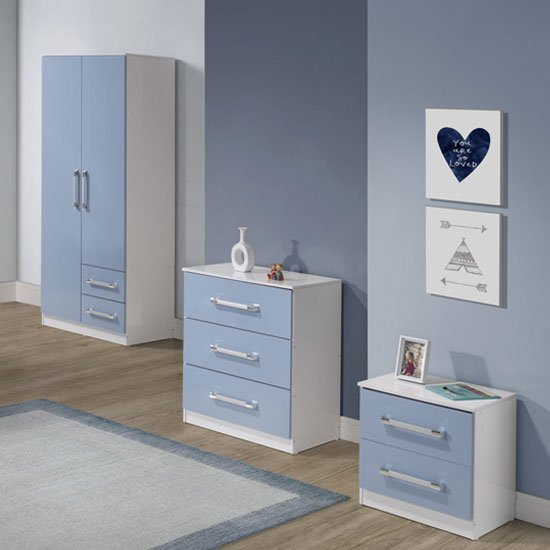 Jasper 3pc Bedroom Furniture Set In White And Blue High Gloss Furniture In Fashion