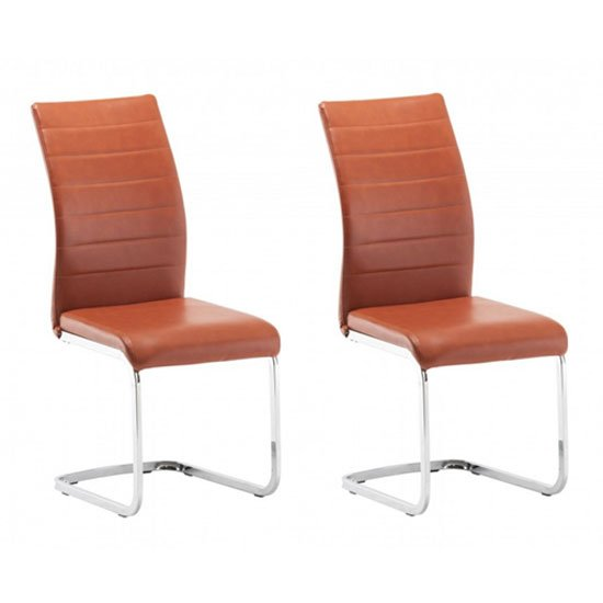 Ellis Orange Faux Leather Dining Chair In A Pair