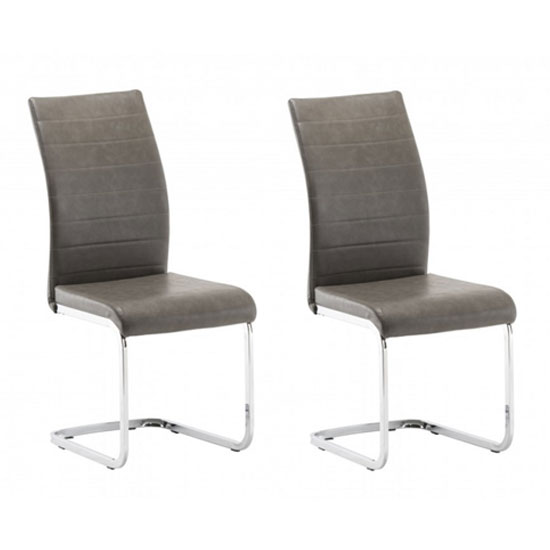 Jasper Grey Faux Leather Dining Chair In A Pair