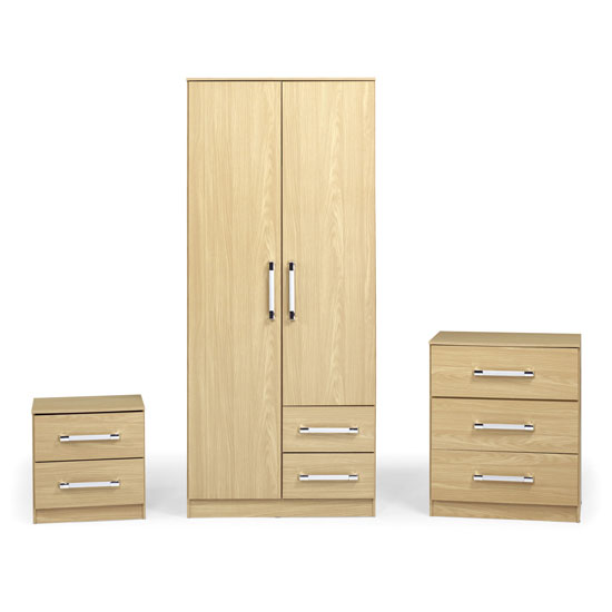 Jasper Wooden 3Pc Bedroom Furniture Set In Oak Effect