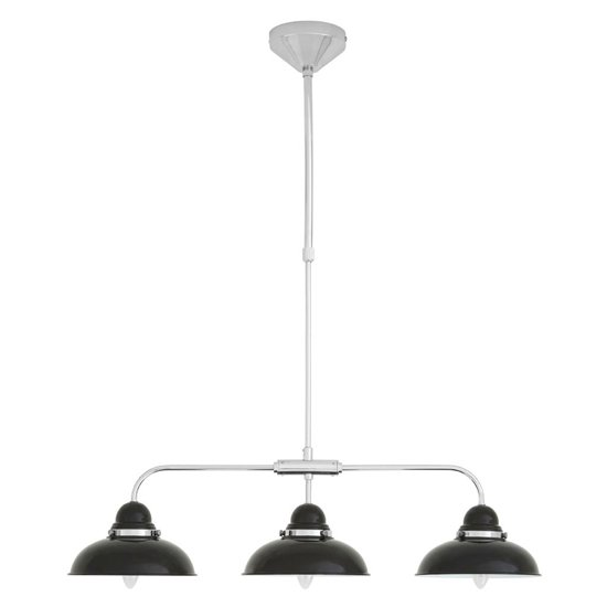 View Jaspro 3 metal shade industrial style pendant light in black