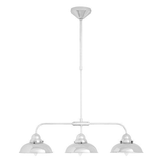 View Jaspro 3 metal shade industrial style pendant light in chrome