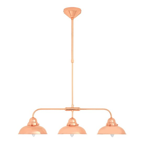 View Jaspro 3 metal shade industrial style pendant light in copper