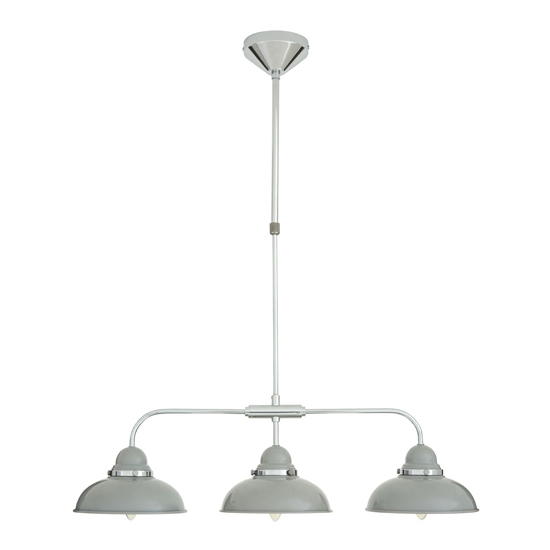 Jaspro 3 Metal Shade Industrial Style Pendant Light In Grey