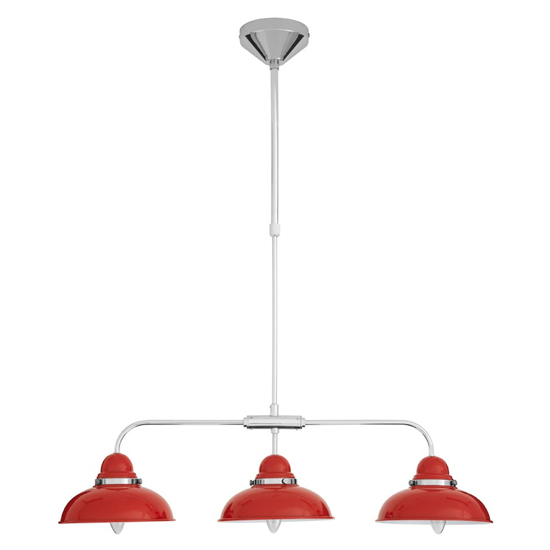 View Jaspro 3 metal shade industrial style pendant light in red