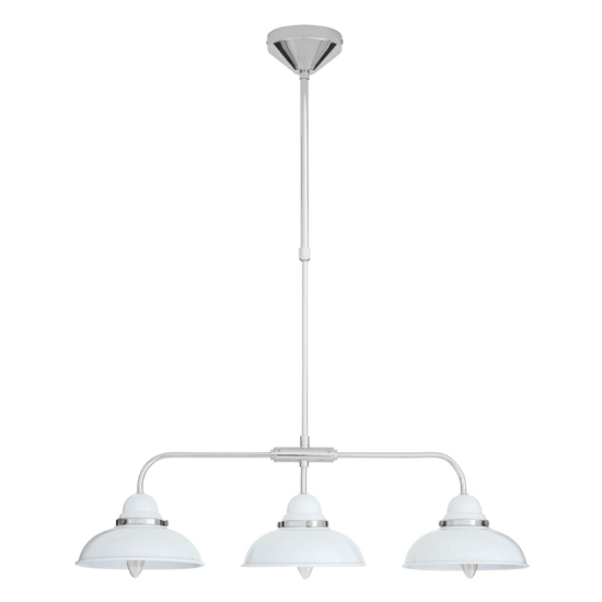 Jaspro 3 Metal Shade Industrial Style Pendant Light In White