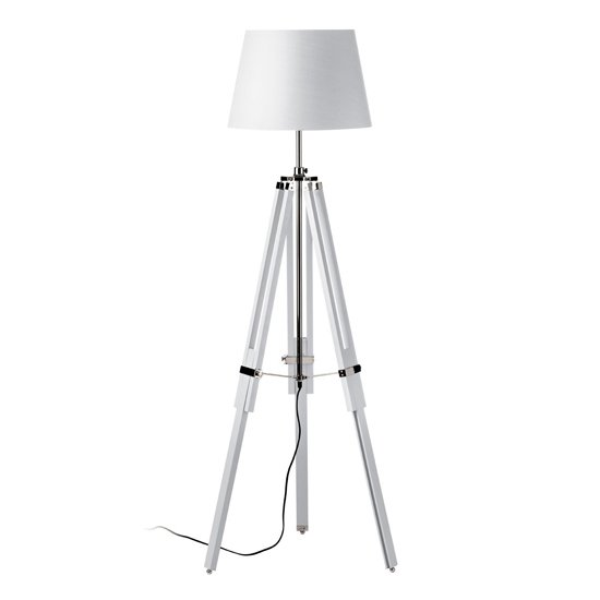 Jaspro White Fabric Shade Floor Lamp With Tripod Base