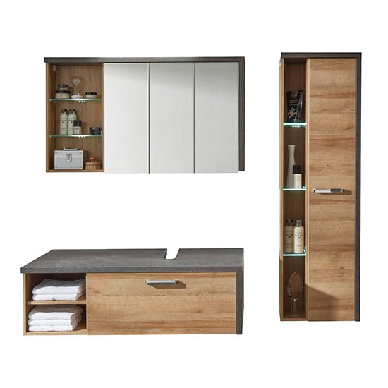 Java LED Bathroom Furniture Set 1 In Dark Cement Grey And Oak