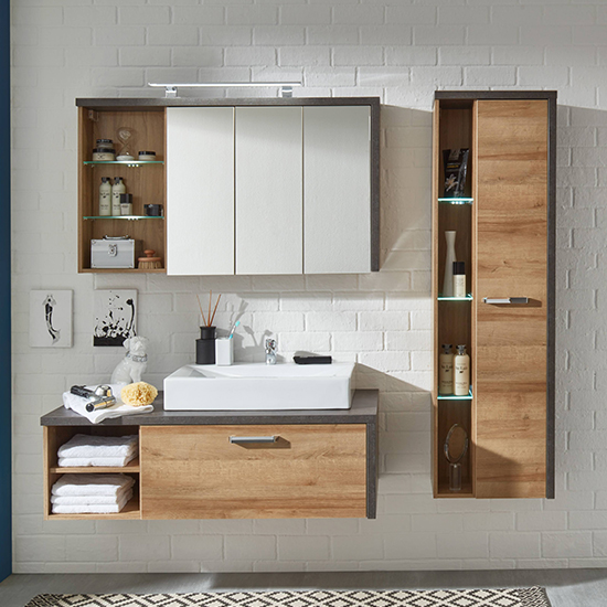 Java LED Bathroom Furniture Set 2 In Dark Cement Grey And Oak