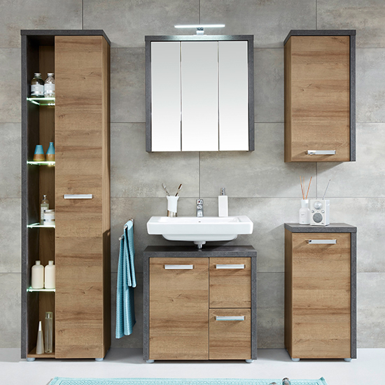 Java LED Bathroom Furniture Set 7 In Dark Cement Grey And Oak
