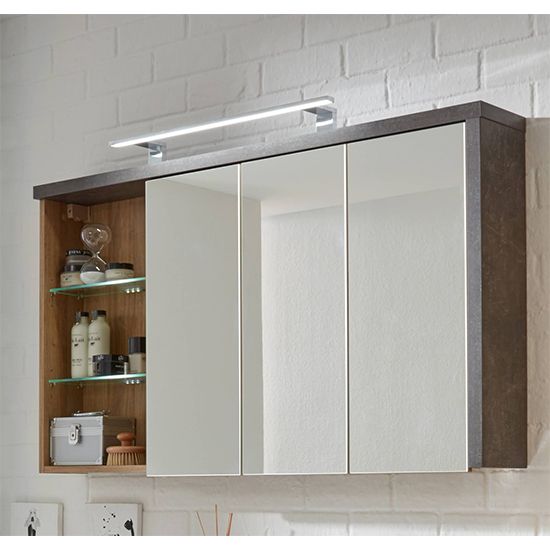 Java LED Bathroom Mirrored Cabinet In Dark Cement Grey And Oak_2