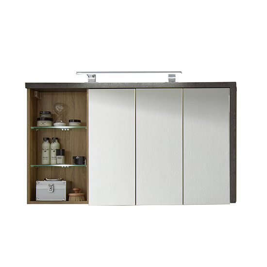 Java LED Bathroom Mirrored Cabinet In Dark Cement Grey And Oak_4