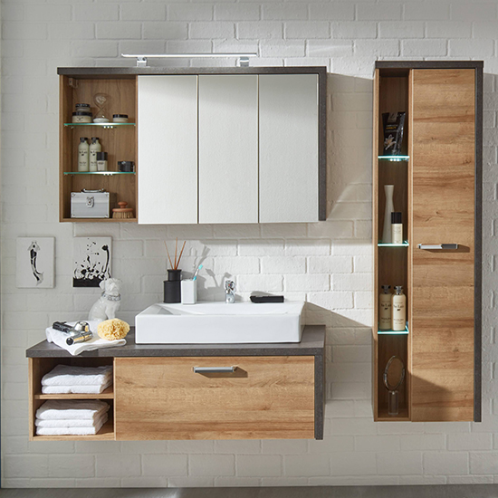 Java LED Bathroom Mirrored Cabinet In Dark Cement Grey And Oak_5