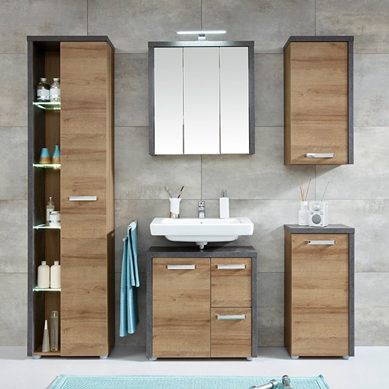 Java LED Bathroom Mirrored Cabinet In Oak And Dark Cement Grey_5