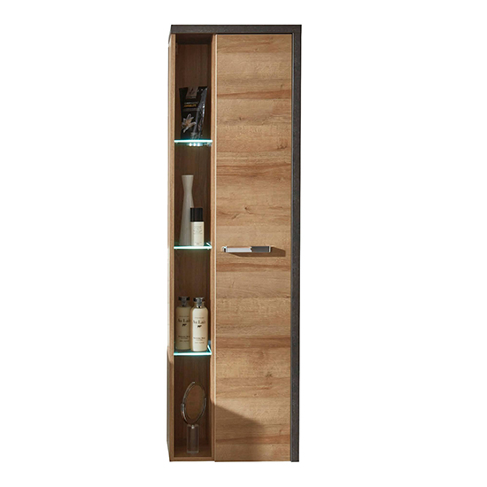 Java LED Wall Hung Storage Cabinet In Dark Cement Grey And Oak_3