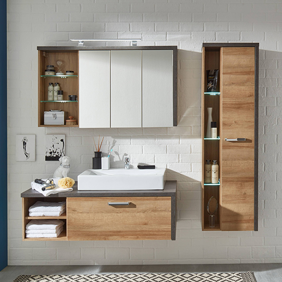 Java LED Wall Hung Storage Cabinet In Dark Cement Grey And Oak_5