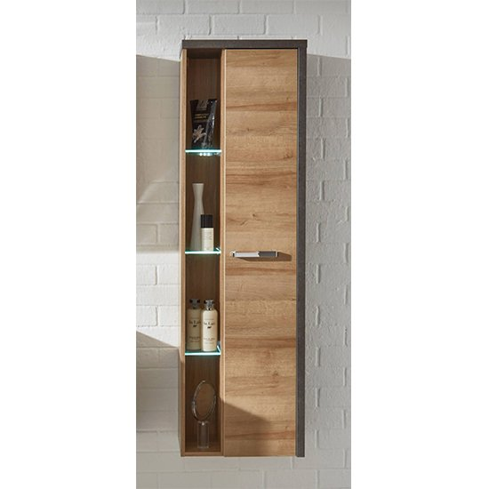 Java LED Wall Hung Storage Cabinet In Dark Cement Grey And Oak