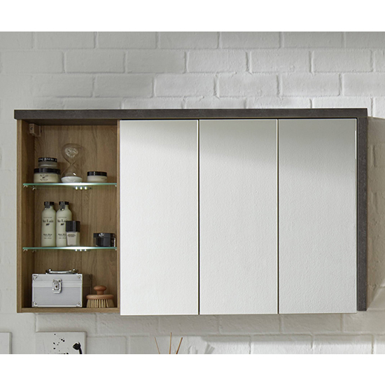 Java Mirrored Cabinet With Shelf In Oak And Dark Cement Grey