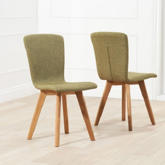 Javelin Dining Chair In Green Fabric In A Pair