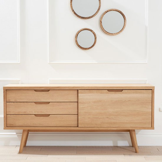 Javelin Sideboard In Oak With 3 Drawers And Sliding Door_4