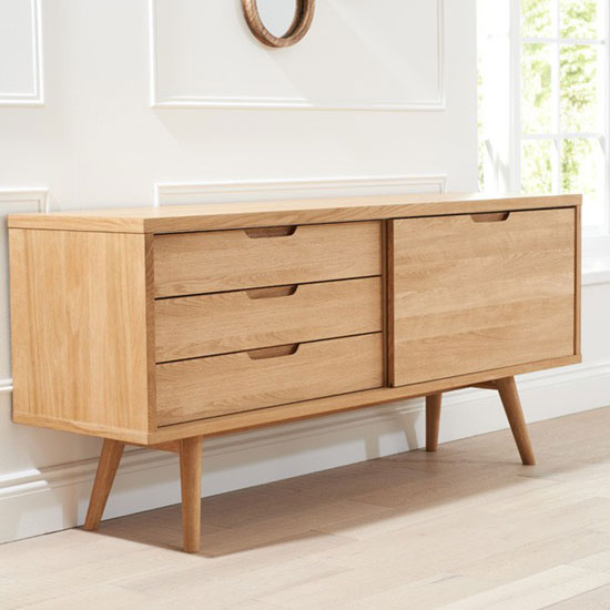 Javelin Sideboard In Oak With 3 Drawers And Sliding Door_5