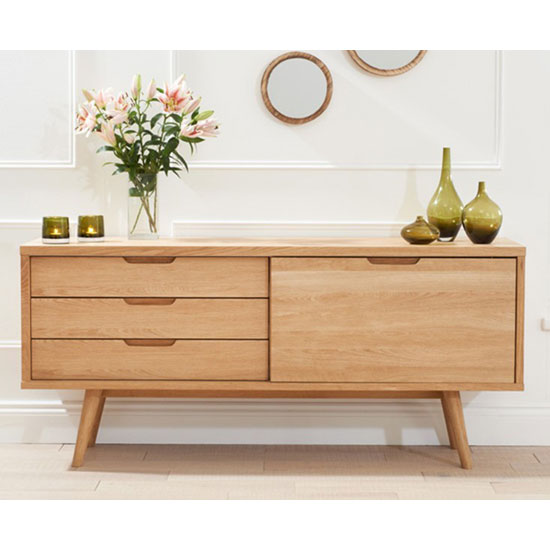 Javelin Sideboard In Oak With 3 Drawers And Sliding Door_6