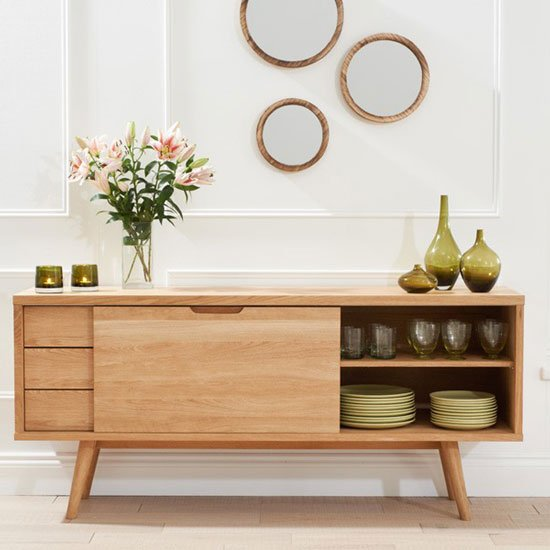 Javelin Sideboard In Oak With 3 Drawers And Sliding Door_2