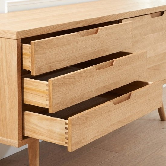 Javelin Sideboard In Oak With 3 Drawers And Sliding Door_3
