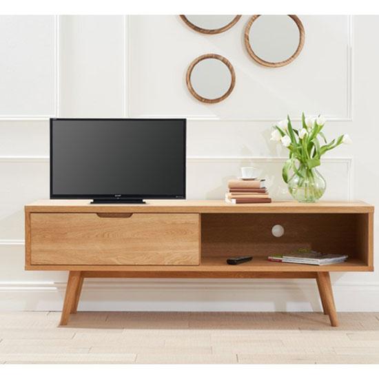 Javelin Wooden TV Stand In Oak With Sliding Door