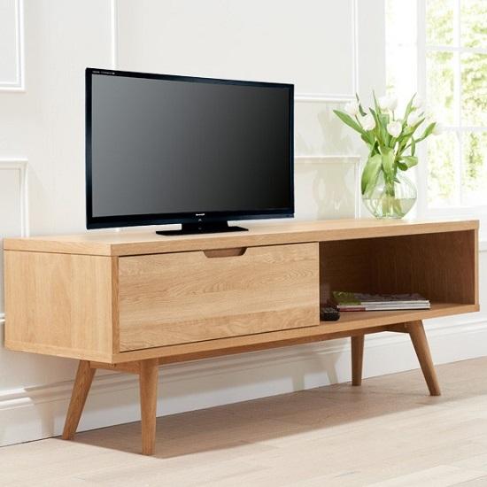 Javelin Wooden Tv Stand In Oak With Sliding Door 4