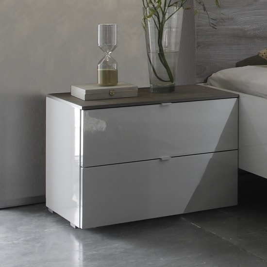 Jaxon Bedside Cabinet In Glossy White Lacquer And Grey Top