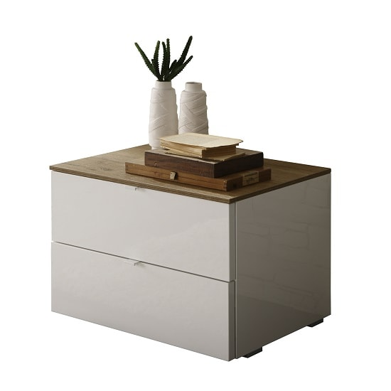 Jaxon Bedside Cabinet In Glossy White Lacquer And Honey Oak_2