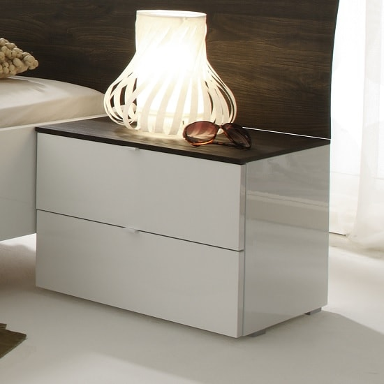 Jaxon Bedside Cabinet In Glossy White Lacquer And Wenge Top