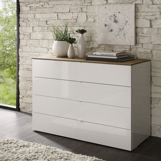 Jaxon Drawers Chest Wide In Glossy White Lacquer And Honey Oak