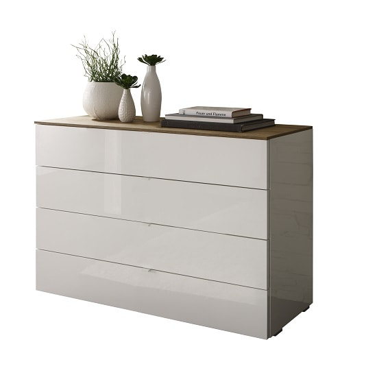 Jaxon Drawers Chest Wide In Glossy White Lacquer And Honey Oak_2