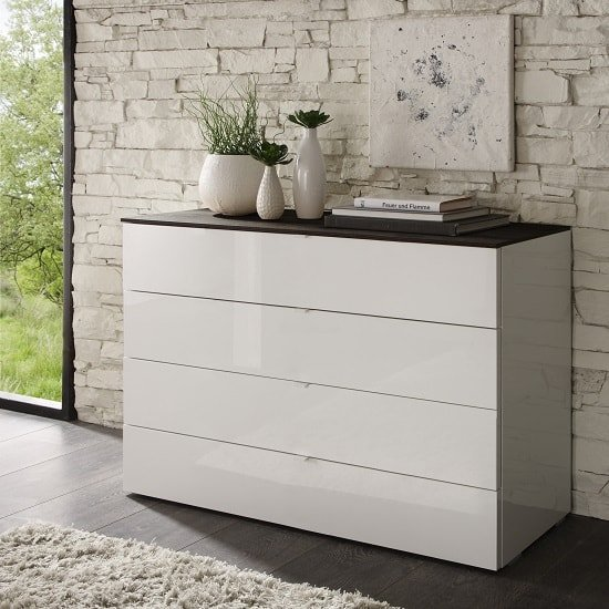 Shop wide or narrow chest of drawers in white gloss, glass and wood