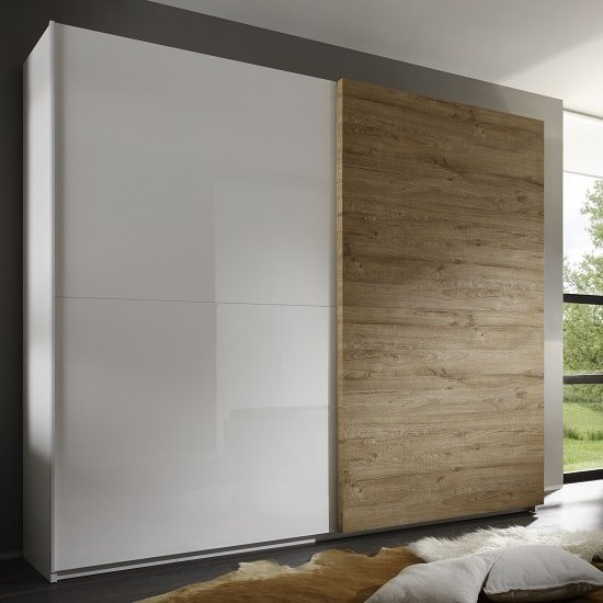 Jaxon 240x210 Sliding Wardrobe In Glossy White And Honey Oak