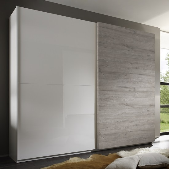 Jaxon 280x210 Sliding Wardrobe In Glossy White And Grey_1