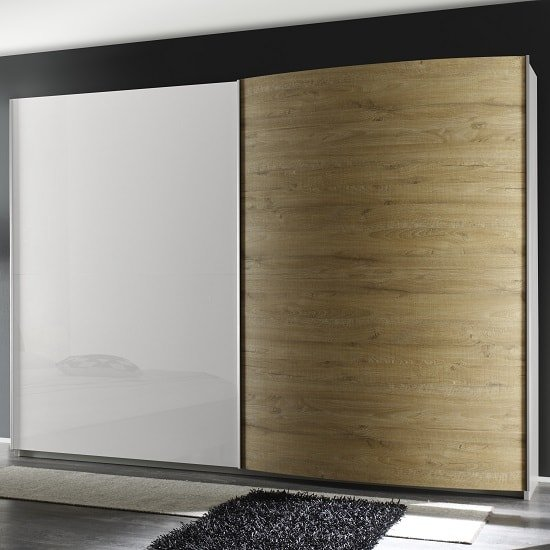 Jaxon 280x210 Sliding Wardrobe In Glossy White With Honey Oak