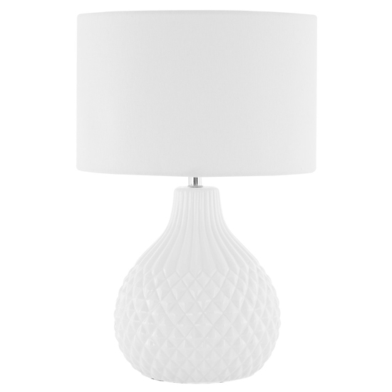 Jaxota Ivory Fabric Shade Table Lamp With Textured Ceramic Base